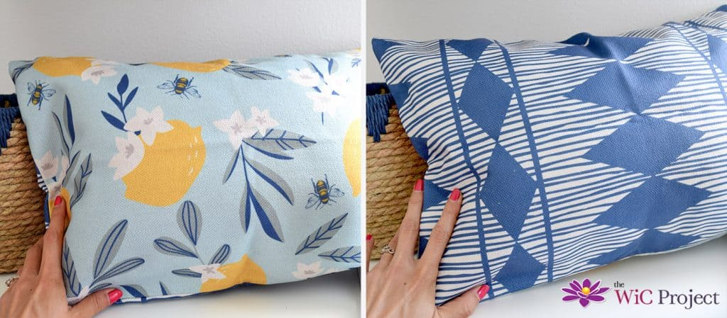 Decocrated Lumbar Pillow - One side Indigo Pattern with diamonds, the other  side lemon blossoms and bees.