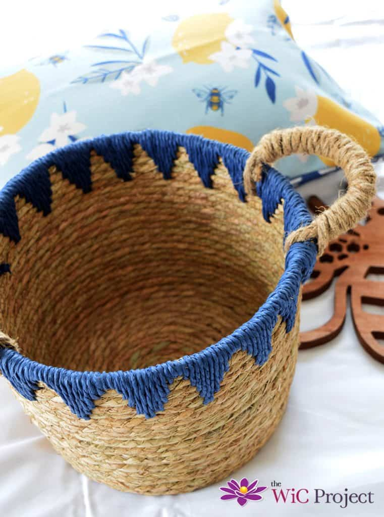 Boho Basket from Summer 2021 Decocrated Box. Woven with blue trim.