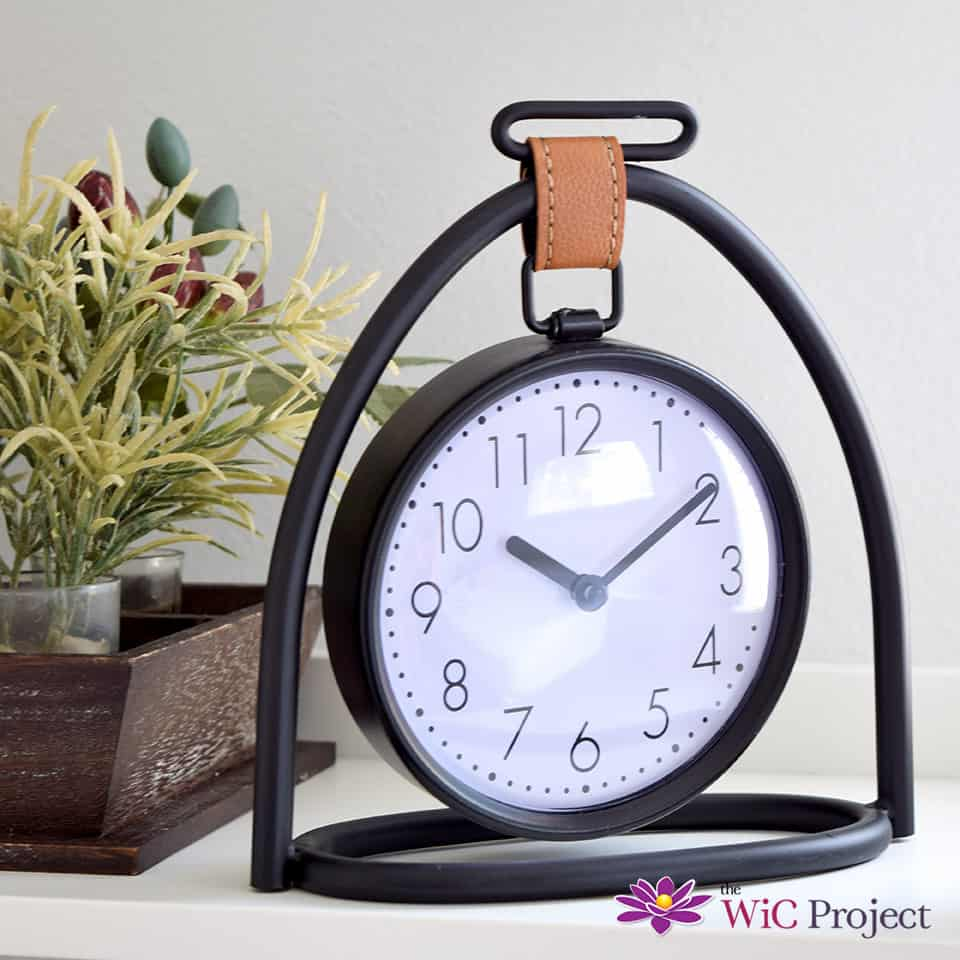 Decocrated Hanging Table Clock with Faux Leather Strap