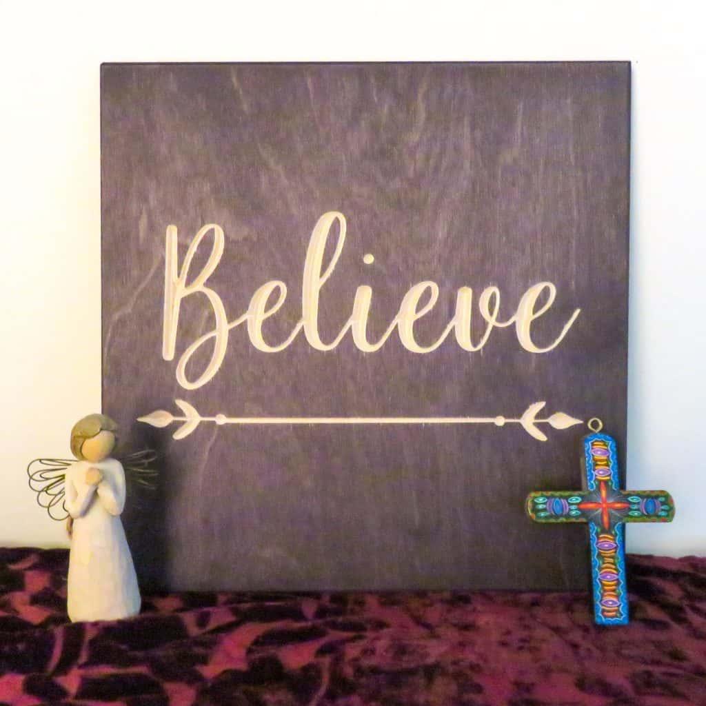 True Stock Studios Handmade Carved Wood Decor - Believe Sign