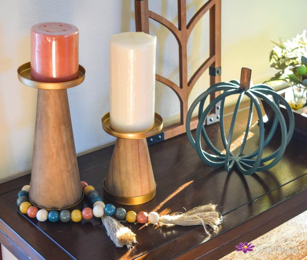 Decocrated Candle Holde, Pumpkin, Beads